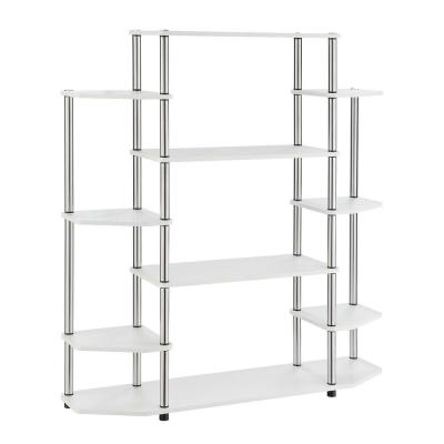 52.5 in. White Metal 10-shelf Etagere Bookcase with Open Back