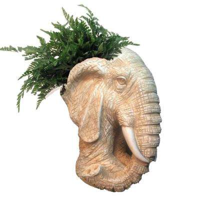 18 in. Antique White Elephant Muggly Mascot Animal Statue Planter Holds a 7 in. Pot