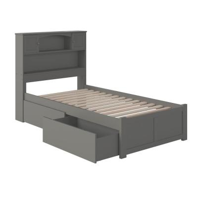 Newport Twin XL Platform Bed with Flat Panel Foot Board and 2-Urban Bed Drawers in Grey