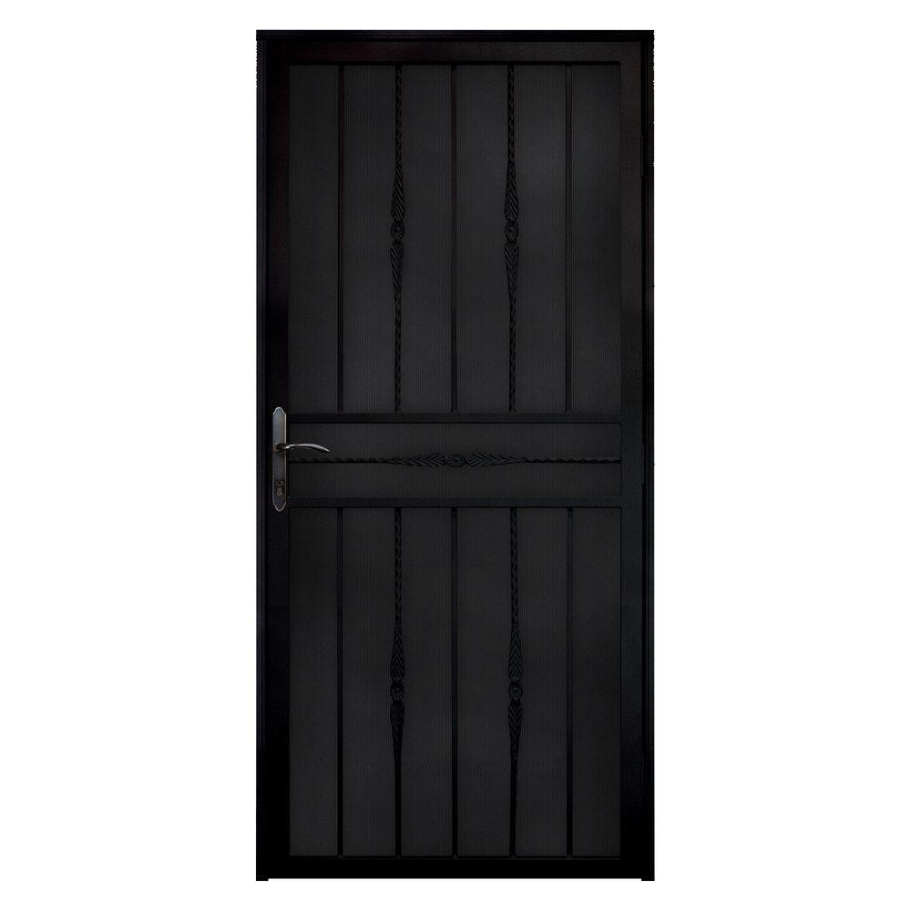 unique home designs 36 in x 80 in cottage rose black recessed mount steel security door with. Black Bedroom Furniture Sets. Home Design Ideas