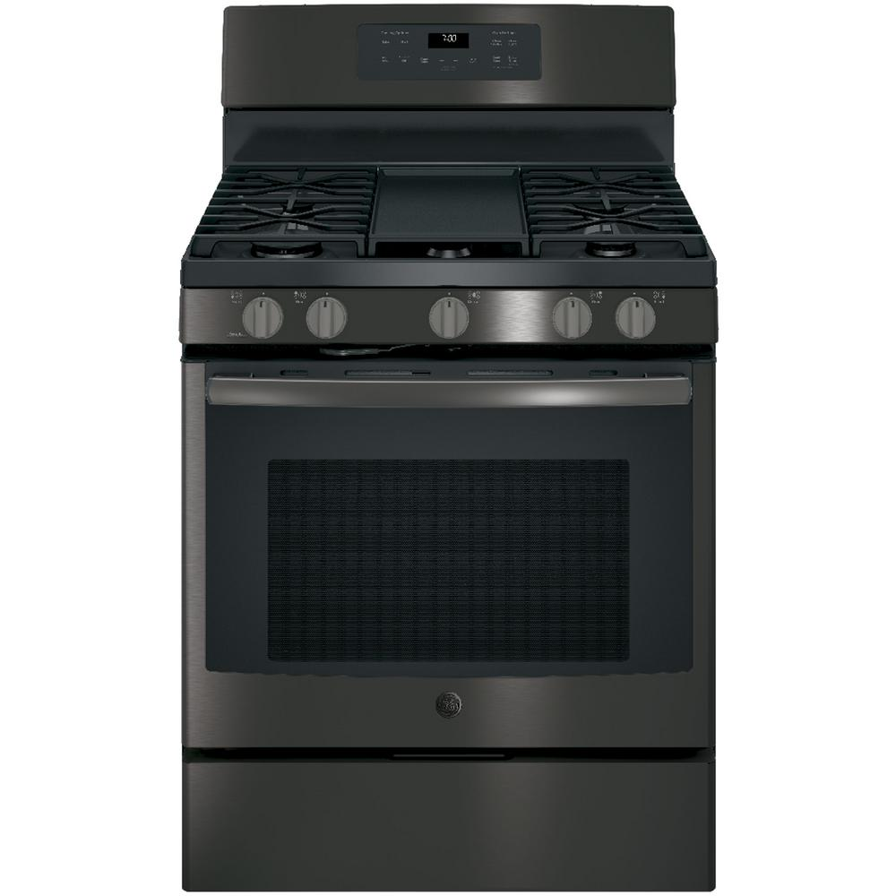 ge 5 0 cu ft slide in gas range with self cleaning convection oven in black stainless. Black Bedroom Furniture Sets. Home Design Ideas