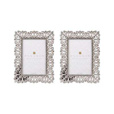 1-Opening 4 in. x 6 in. Gwendolyn Silver and Clear Picture Frames (2-Pack)