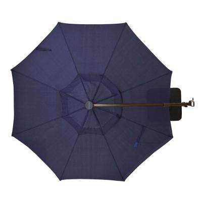 11 ft. Aluminum Cantilever Solar LED Offset Patio Umbrella in Midnight