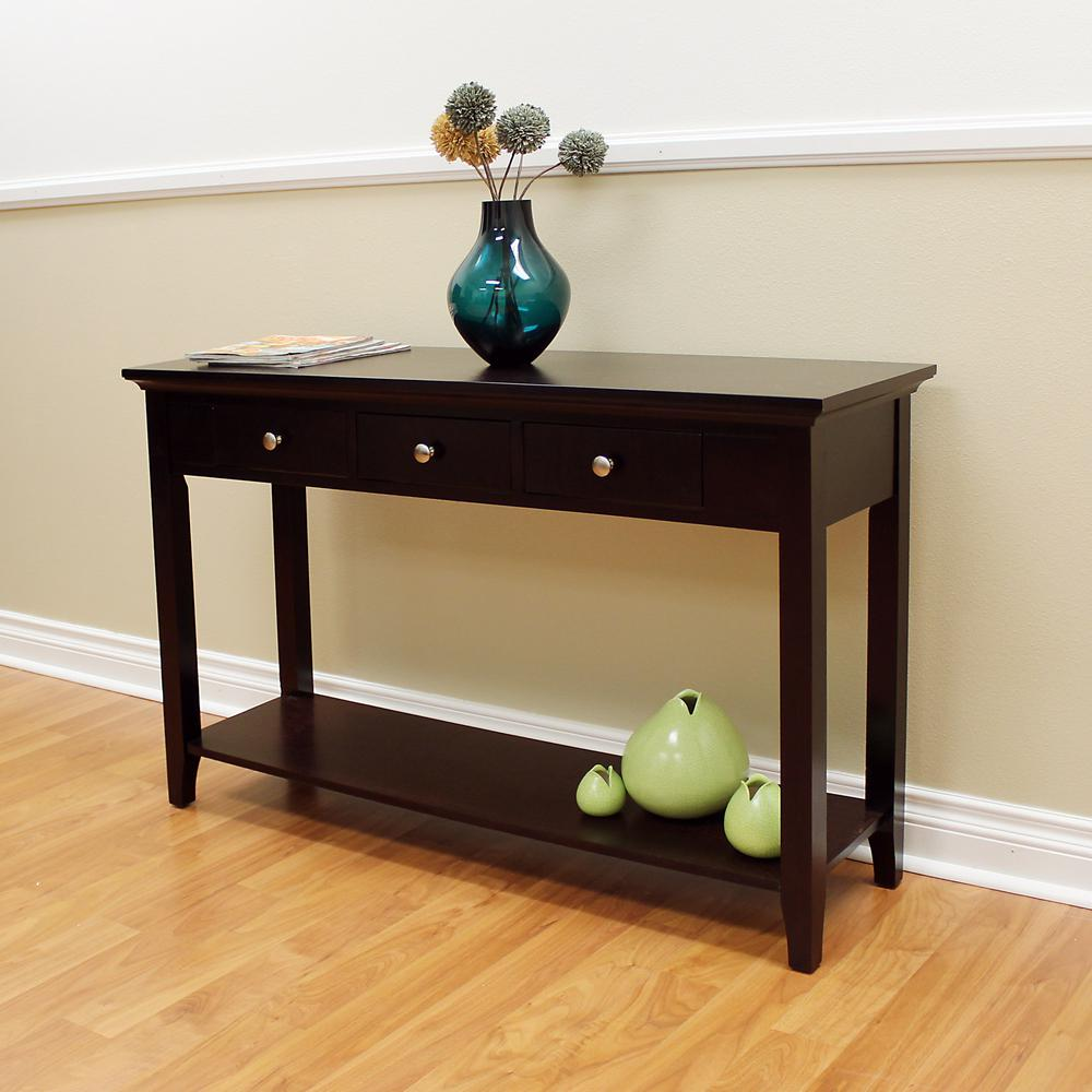 Donnieann Ferndale Espresso 3 Drawer Console Table 355 The