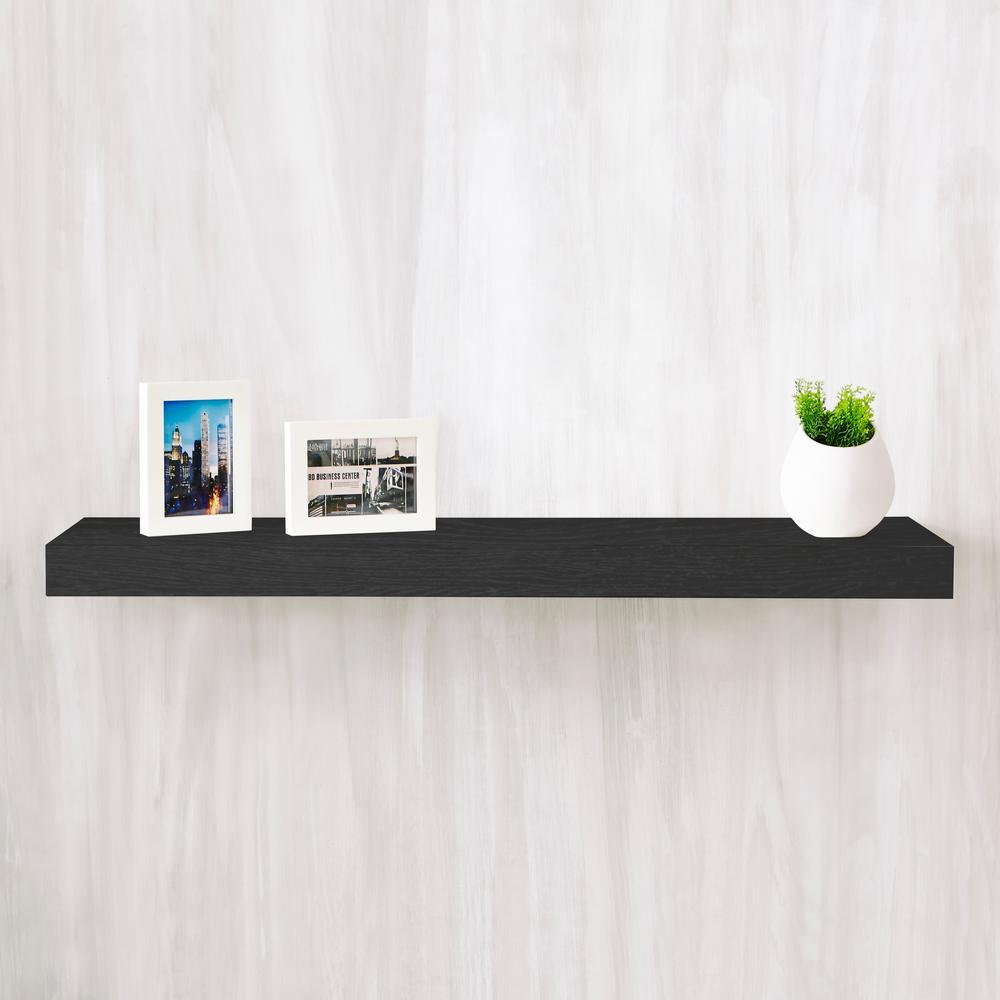 Positano 36 in. x 2 in. zBoard  Wall Shelf Decorative Floating Shelf in Black Wood Grain