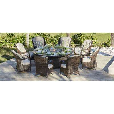 Eton 8-Seat Brown Round Wicker Outdoor Fire Pit Dining Table