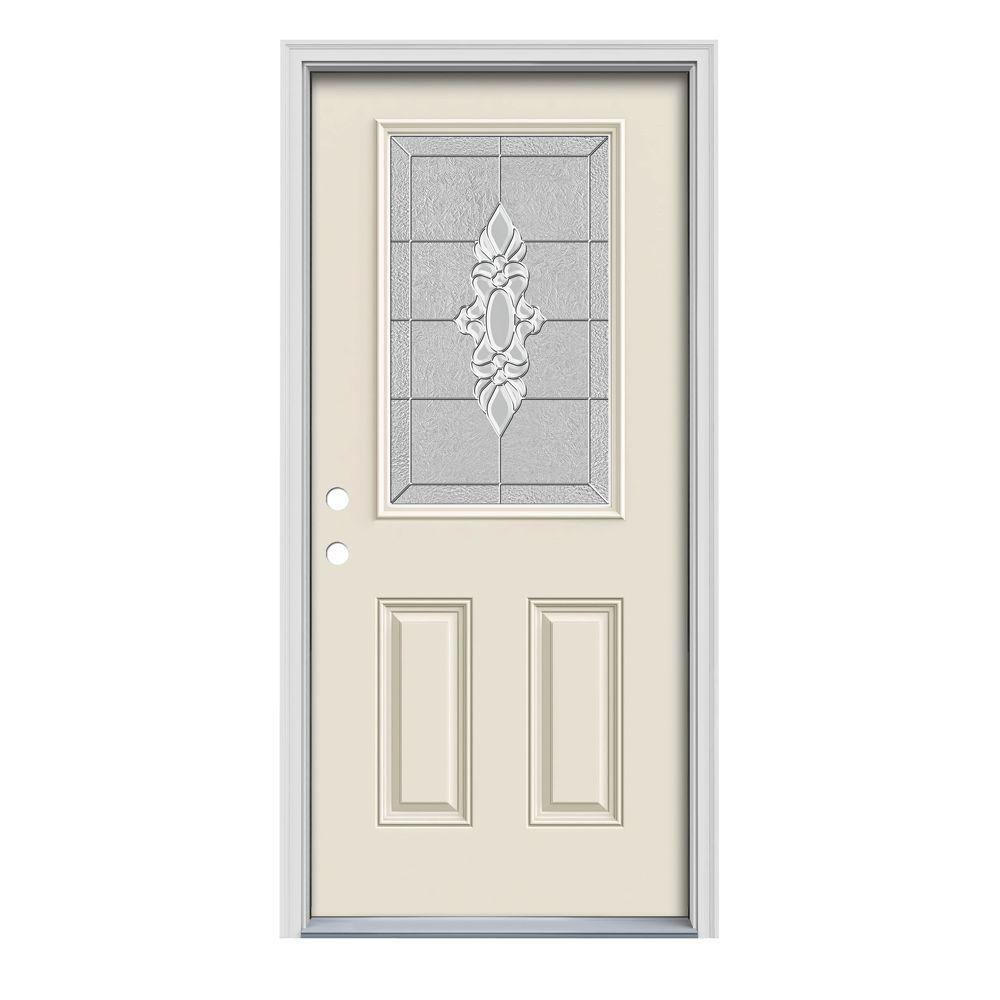 36 in. x 80 in. 1/2 Lite Langford Primed Steel Prehung Right-Hand Inswing Front Door w/Brickmould