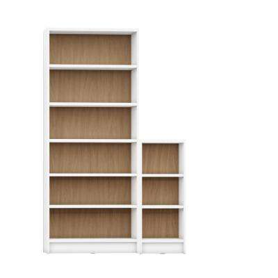 Greenwich 2-Piece White Matte and Maple Cream Bookcase 9-Wide and Narrow Shelves