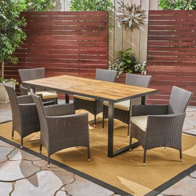 Hartland Teak Brown 7-Piece Wood and Multi-Brown Wicker Outdoor Dining Set with Beige Cushions