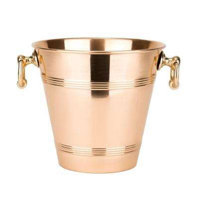 4.75 qt. Solid Copper Wine Cooler with Brass Handles