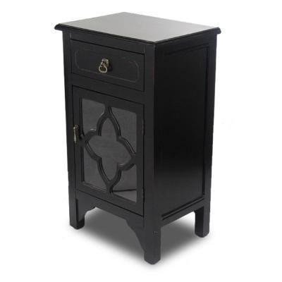 Shelly Assembled 18 in. x 18 in. x 13 in. Black Wood Clear Glass Accent Storage Cabinet with a Drawer