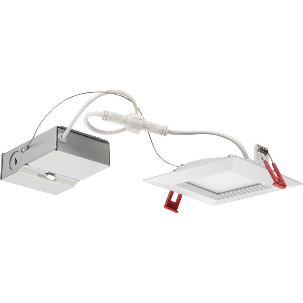 Lithonia Lighting 4 Ft 40 Watt White Integrated Led: Lithonia Lighting Wafer Square 4 In. White Integrated LED