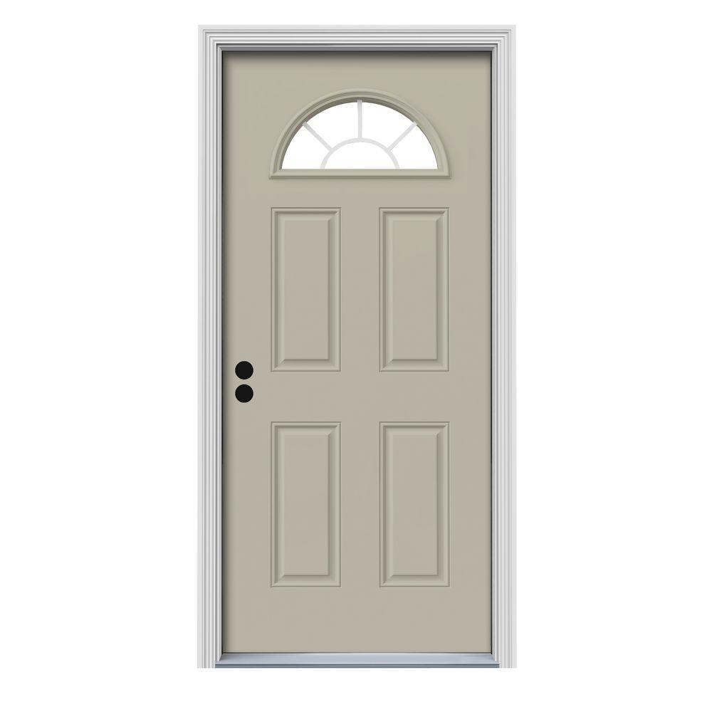 32 in. x 80 in. Fan Lite Desert Sand Painted Steel Prehung Right-Hand Inswing Front Door w/Brickmould