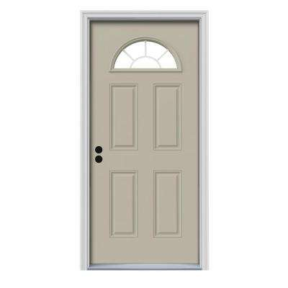 36 in. x 80 in. Fan Lite Desert Sand Painted Steel Prehung Right-Hand Inswing Front Door w/Brickmould