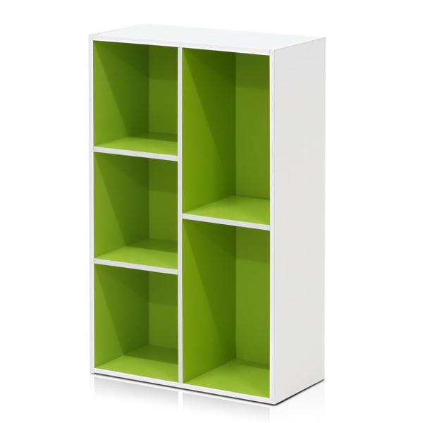 Furinno Tropika 31 5 In Green White Faux Wood 5 Shelf Standard Bookcase With Storage 11069wh Gr The Home Depot