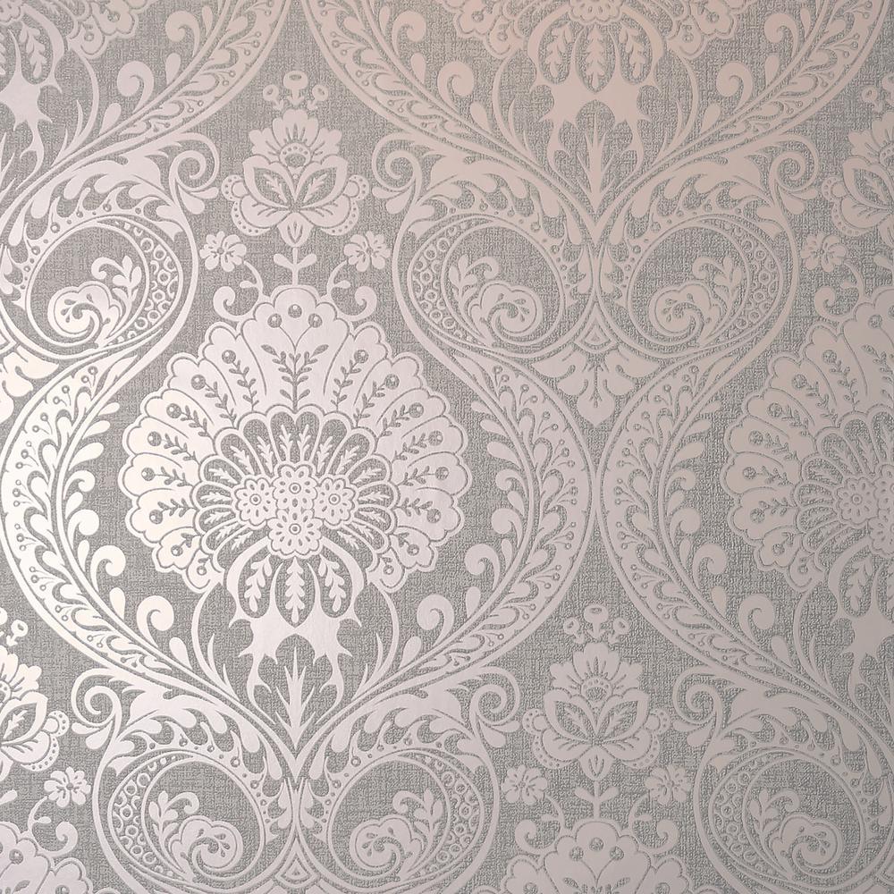Luxe Damask Dusky Rose Wallpaper