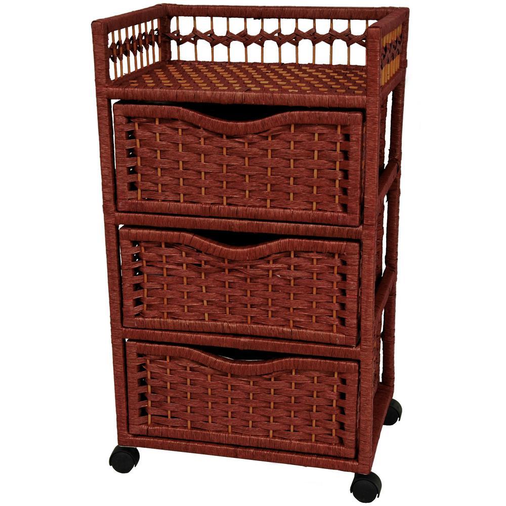 Oriental Furniture 3-Drawer Mahogany Wheeled Natural Fiber Trunk JH09-069-3-MHGNY