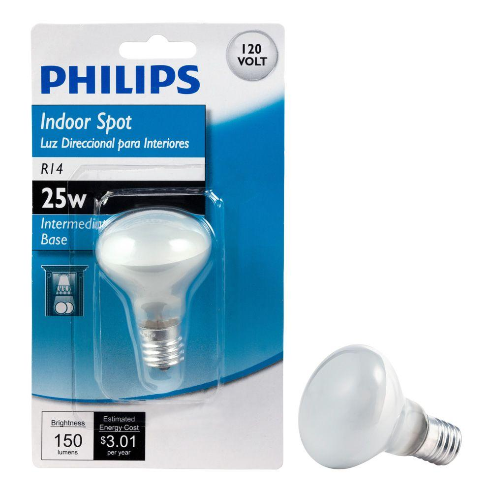 Philips 25 Watt R14 Incandescent Mini Reflector Light Bulb Soft