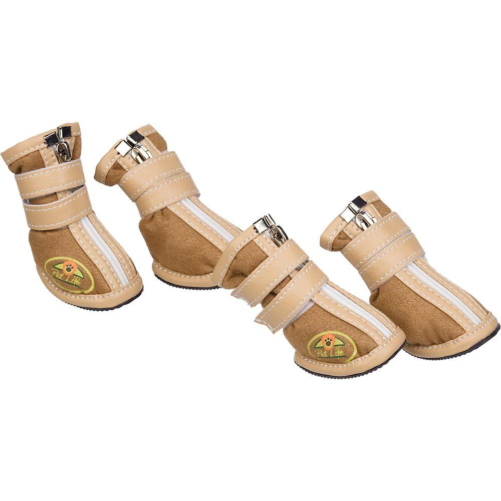 PET LIFE Large Brown Ruff Suede Dog Shoes (Set of 4)
