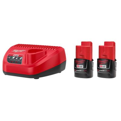Milwaukee M12 12-Volt Lithium-Ion Starter Kit with Two 3.0 Ah Battery Packs and Charger