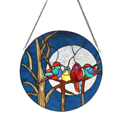 Multi-Colored Birds in the Night Sky Round Stained-Glass Window Panel