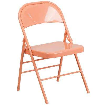 Coral Metal Stackable Folding Chair
