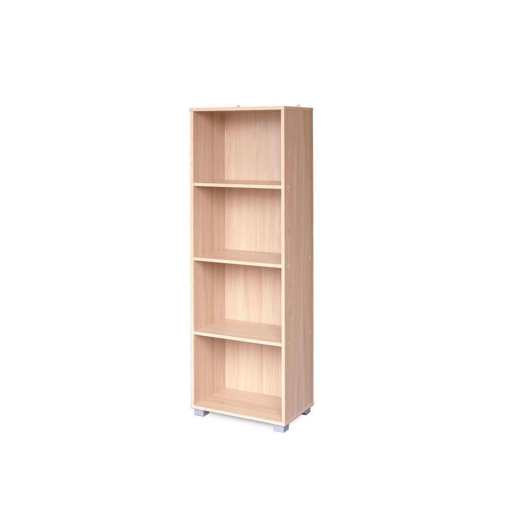 Sorento Oak 4 Tier Narrow Bookcase Df05105usa The Home Depot