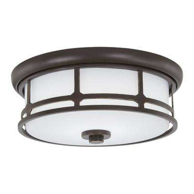 75-Watt Equivalence Oil Rubbed Bronze with Gold Highlights Integrated LED Flush Mount