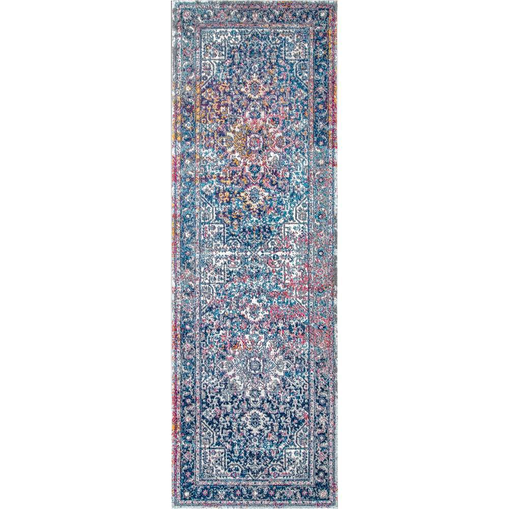 Persian Vintage Raylene Blue 3 ft. x 12 ft. Runner Rug