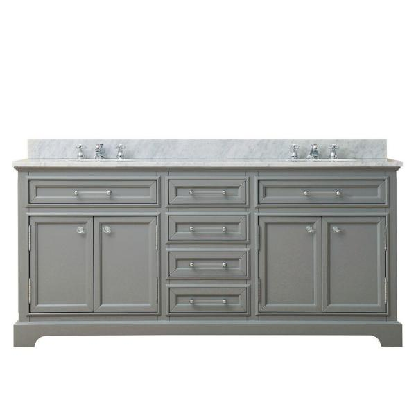 72 in. W x 21.5 in. D x 34 in. H Vanity in Cashmere Grey with Marble Vanity Top in Carrara White