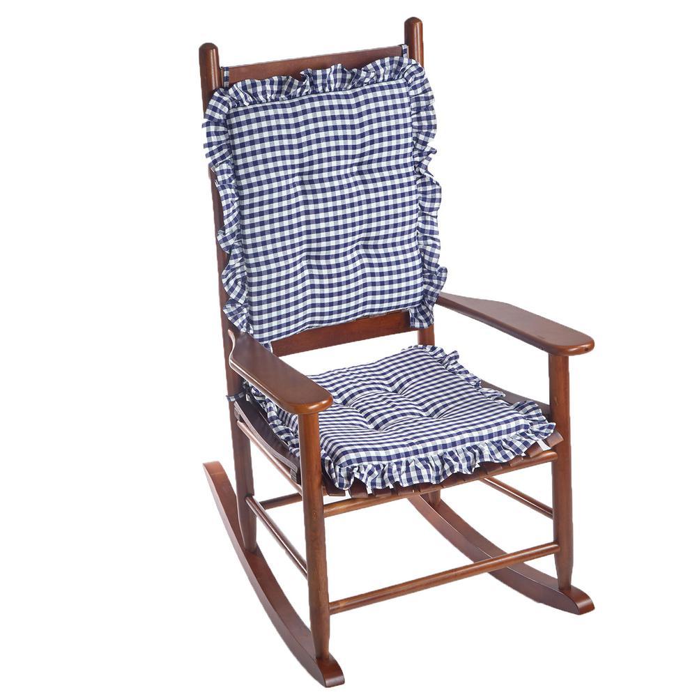 Gingham Ruffle Navy Rectangular Delightfill Rocking Chair Cushion Set