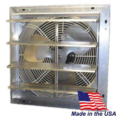 12 in. 900 CFM Power Shutter Mounted 3-Speed Exhaust Fan