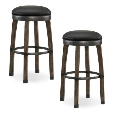 Favorite Finds Graystone Wood Cask Stave Bar Height Stool with Black Faux Leather Seat (Pack of 2)