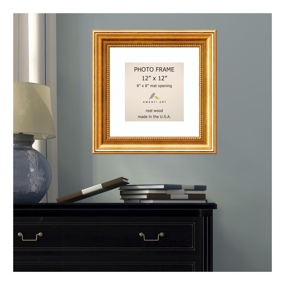 Amanti Art Townhouse 8 In X 8 In White Matted Gold Picture Frame