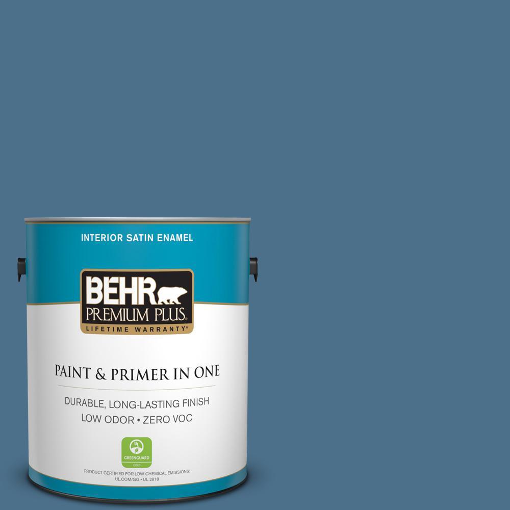 1 gal. #PPU14-01 Arrowhead Lake Zero VOC Satin Enamel Interior Paint