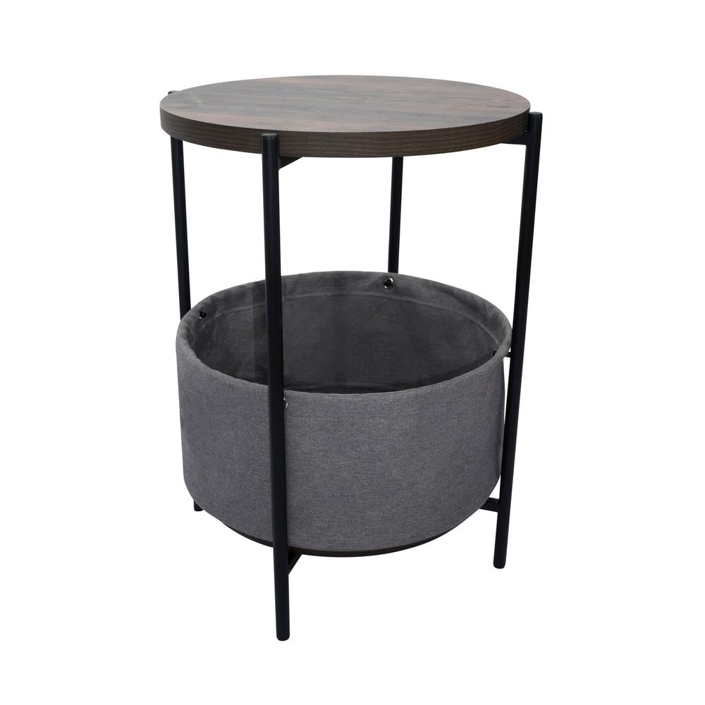 Oraa Nutmeg and Black Metal Frame Side Table with Storage Basket
