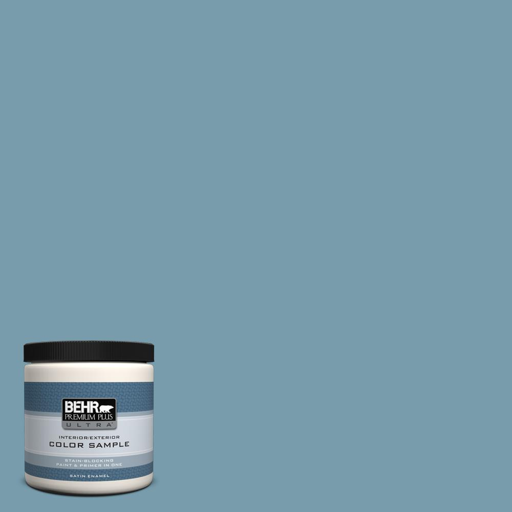BEHR Premium Plus Ultra 8 oz. #S470-4 Dolphin Blue Satin Enamel Interior/Exterior Paint and Primer in One Sample