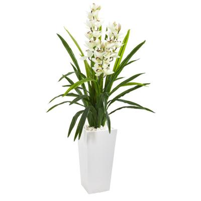 4.5 ft. Cymbidium Orchid Artificial Plant in White Tower Planter