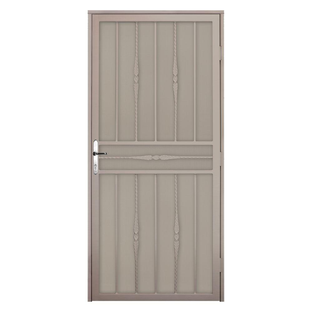 Unique Home Designs 36 in. x 80 in. Cottage Rose Tan Left-Hand Recessed Mount  Door with Perforated Metal Screen and Nickel -DISCONTINUED