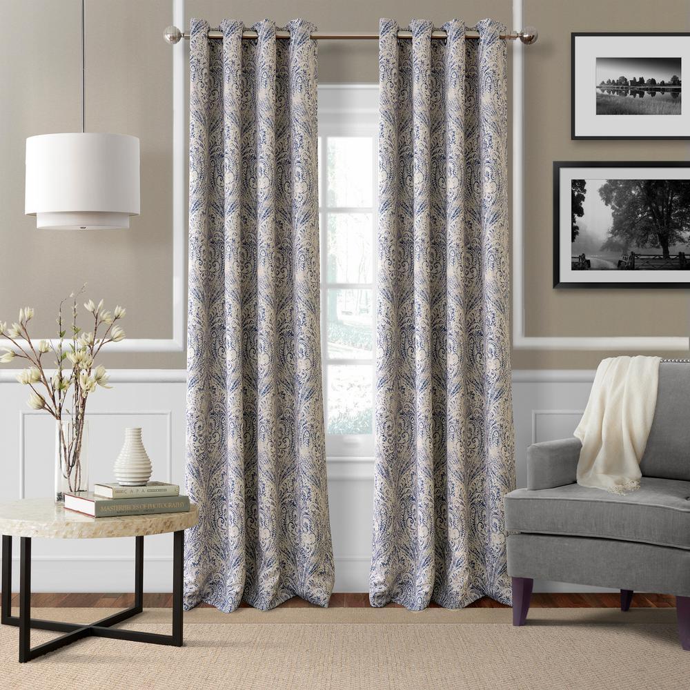 Elrene Blackout Julianne Blue Blackout Window Curtain Panel - 52 inch W x 84 inch L by Elrene