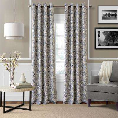 Blackout Julianne Blue Blackout Window Curtain Panel - 52 in. W x 84 in. L