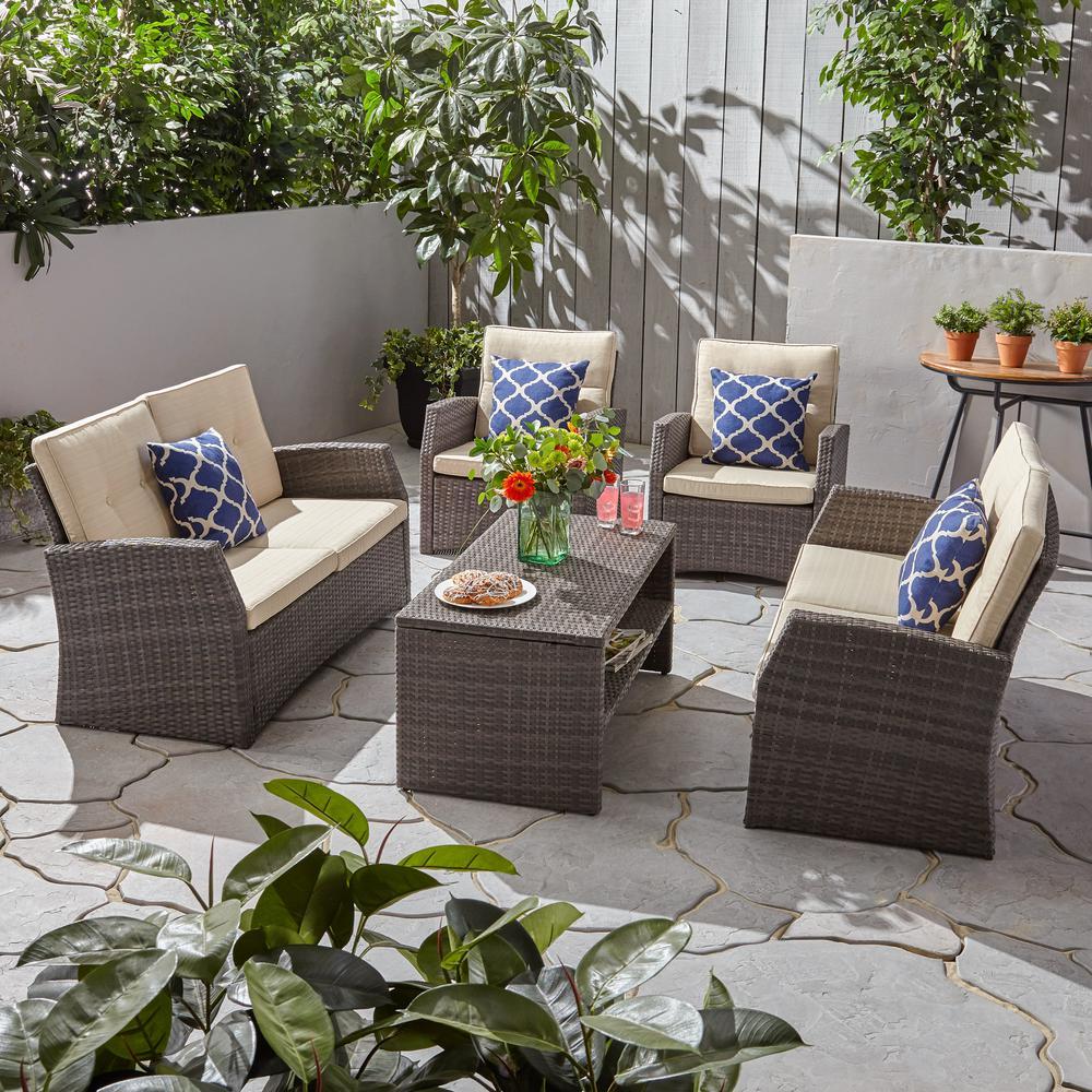 Sanger Gray 5-Piece Wicker Patio Conversation Set with Beige Cushions