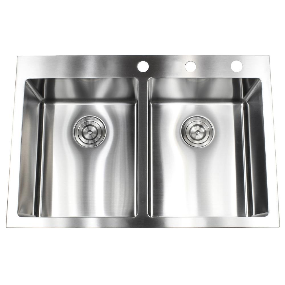 Drop-in Top Mount 16-Gauge Stainless Steel 33 in. x 22 in. x 10 in. 50/50  Double Bowl Kitchen Sink