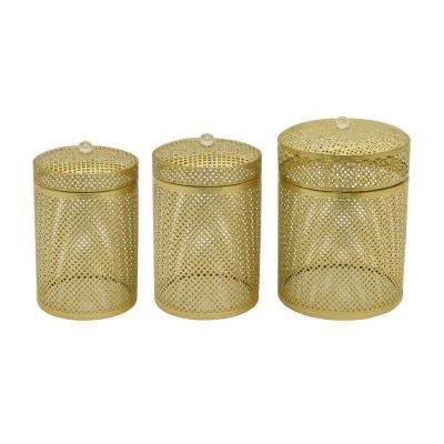 10.5 in. Metal Box in Gold (Set of 3)