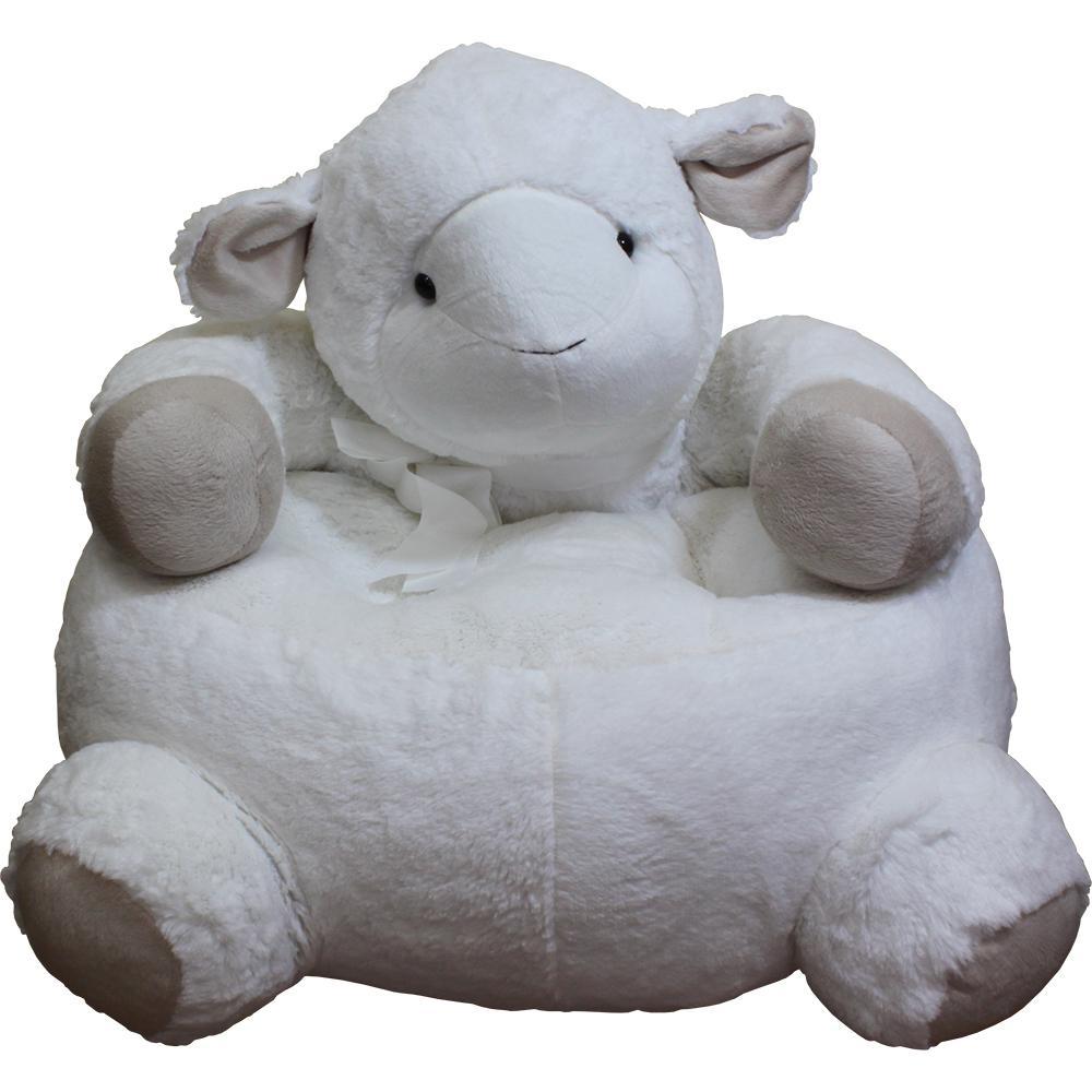 Internet #301640284. White Plush Kids Lamb Chair