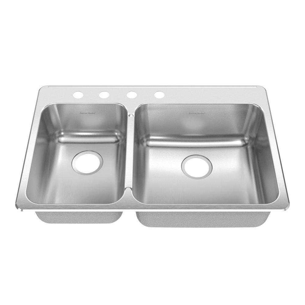 American Standard Prevoir Drop-In Brushed Stainless Steel 33.375x22x8 in. 4-Hole Double Combo Small Lft Bowl Kitchen Sink-DISCONTINUED