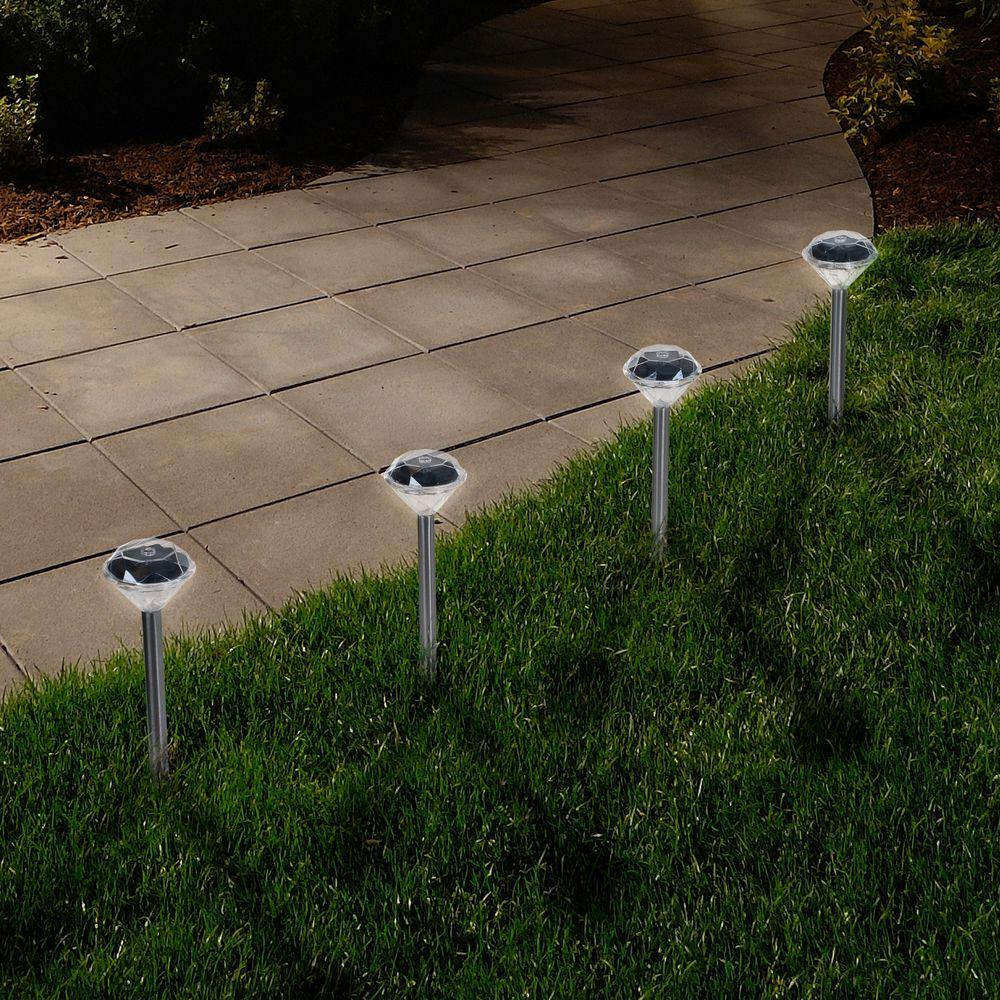 cheap for discount 7095b 49c14 Pure Garden Solar Powered LED Silver Diamond Pathway Light (24-Pack)