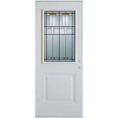 33.375 in. x 82.375 in. Architectural 1/2 Lite 1-Panel Painted White Steel Prehung Front Door