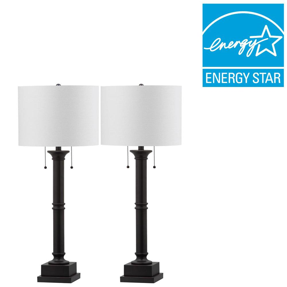 Estilo Column 35.25 in. Black Table Lamp with White Shade (Set of 2)