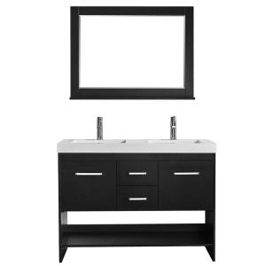 Siena 48 inch W x 21 inch D Vanity in Espresso with Acrylic Vanity Top in White with Double White Basins and... by